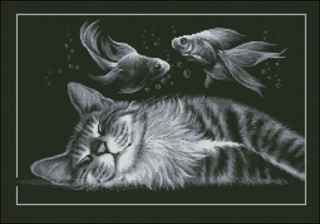 Korssting pakke - Black cat dreams(1)  40x28cm