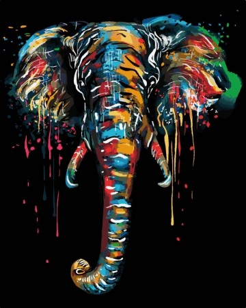 Paint by numbers - Colorful elephant 40x50cm