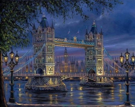 Paint By Numbers - London Bridge by night 40x50cm
