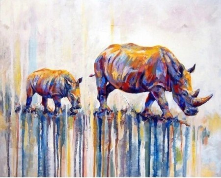 Paint By Numbers - Fargerike neshorn 40x50cm