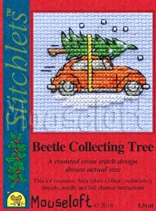 Mini korssting m/ kort & konvolutt - Beetle collecting tree