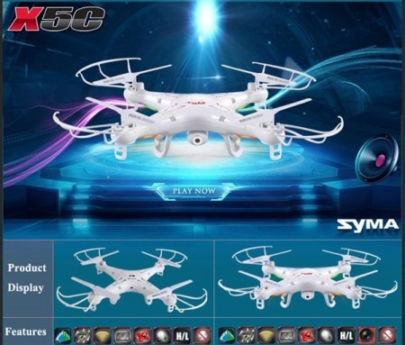 Syma X5C-1 med 2MP HD Camera 2.4G 4CH 6Axis drone