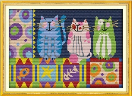 Korssting -Abstract painting cats (34x26cm)