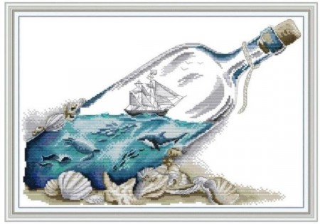 Korssting pakke -  Sea in a bottle 42x30cm