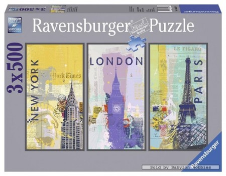Ravensburger puslespill -  Around the world 3x500