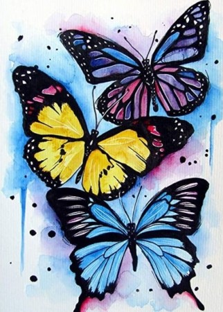 Diamond painting  - 3 Butterflies 40x50 cm