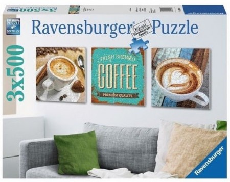 Ravensburger puslespill - Coffee time 3x500