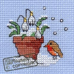 Mini korssting  - Robin and snowdrops