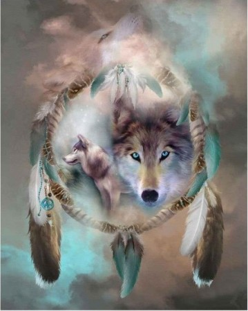 Korssting pakke - Dream catcher wolf 40x50cm