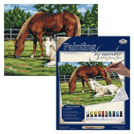 Paint By Numbers - Horses in field