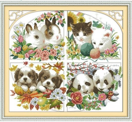 Korssting pakke - Four seasons animal 62x56cm