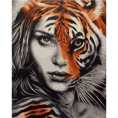 Paint by numbers - Menneske tiger 40x50cm