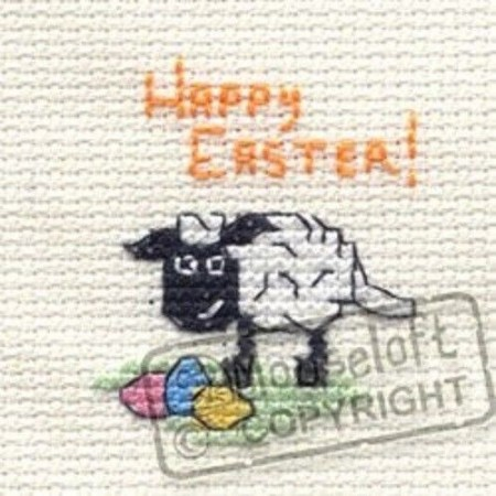 Mini korssting m/ kort & konvolutt - Happy Easter Lamb