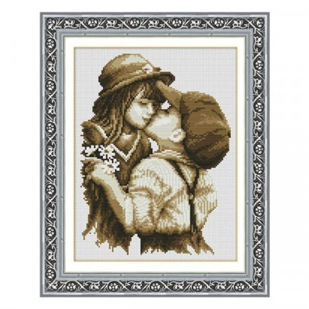 Korssting - First romantic kiss 30x38cm (Påtegnet)