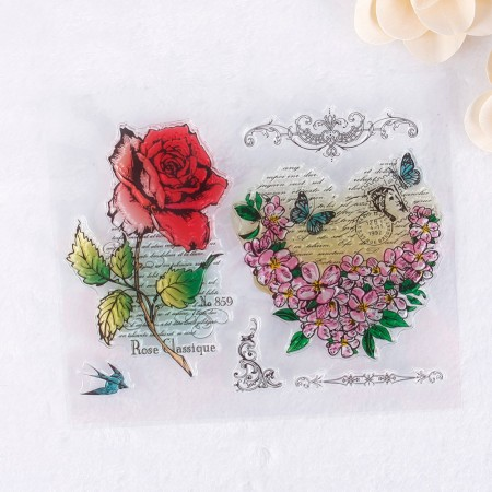 Stempel - Clear Stamp - Rose/Hjerte