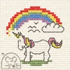 Mini korssting - Unicorn with Rainbow