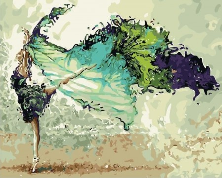 Paint by numbers - Green ballerina 40x50cm