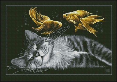 Korssting pakke - Black cat dreams(2)  40x28cm