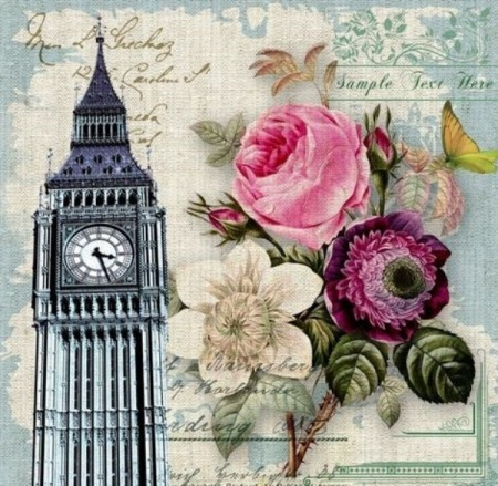 Diamond painting  - Big Ben og blomster 40x40cm