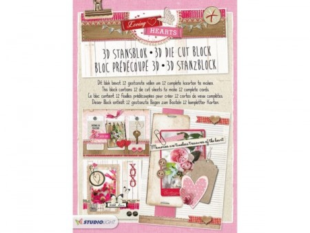 Studiolight 3D Die Cut Block - Loving Harts