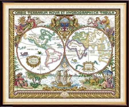 Korssting - Vintage world map 51x42cm
