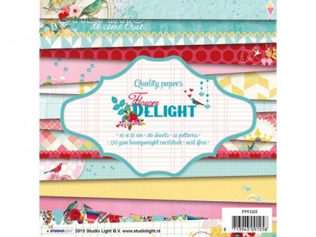 Studiolight Paperpad 36 ark - Flower delight 15x15 cm