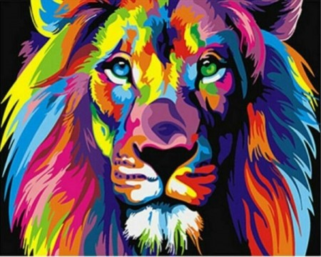 Paint by numbers - Rainbow lion 40x50cm