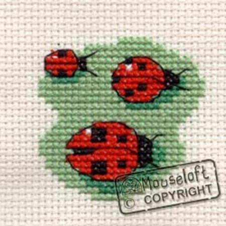 Mini korssting - Three ladybirds