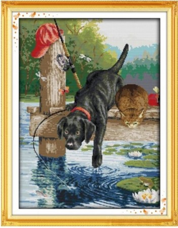 Korssting pakke -  A dog fishing 40x52cm