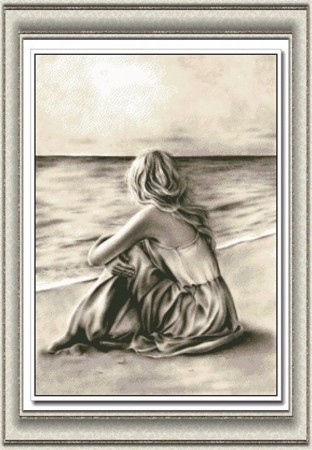 Korssting pakke - Girl by the sea 40x53cm
