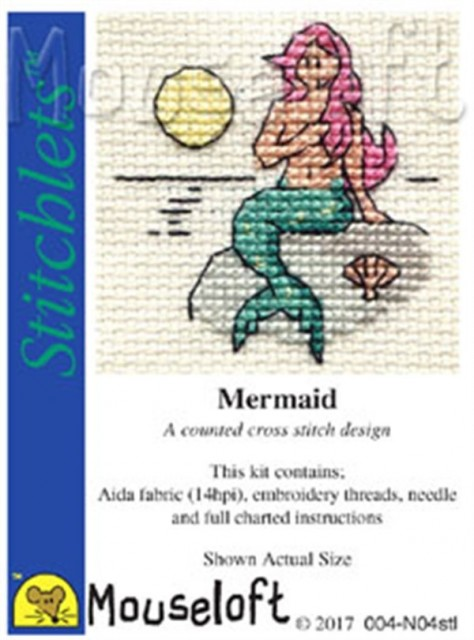 mini korssting - broderi pakke - mermaid