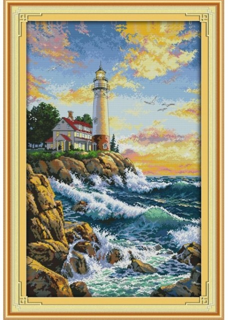 Korssting pakke - The lighthouse (2) 44x65cm