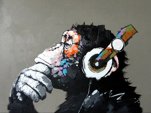 Paint by numbers - Monkey with Headphones 40x50 cm
