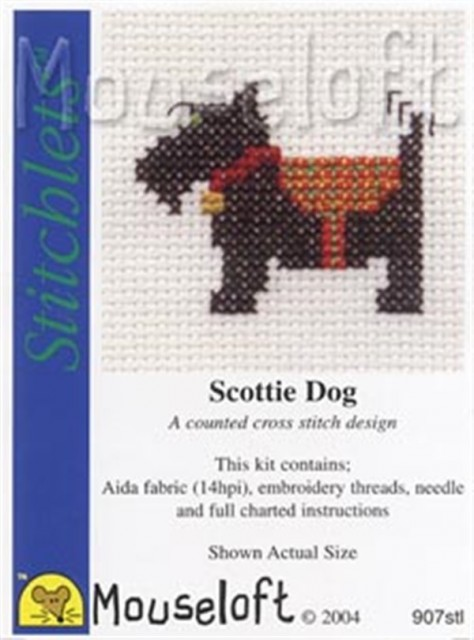 mini korssting - broderi pakke - scottie dog - hund