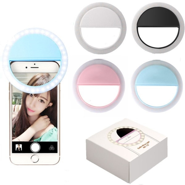 Selfie lys ring - Clip-on - Oppladbar