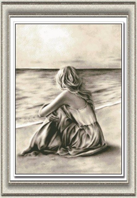 korssting - broderi pakke - Girl by the sea