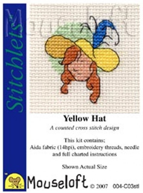mini korssting - broderi pakke - yellow hat